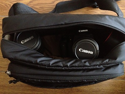 EOSKissX5のカメラバッグはユニクロショルダーバッグがピッタリ