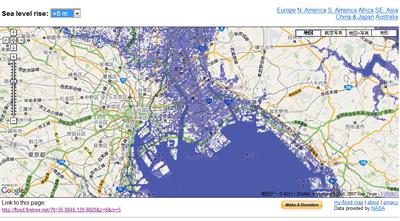 FloodMaps:ご自分の街は大丈夫ですか?浸水してしまう場所を海抜情報を元に表示します。