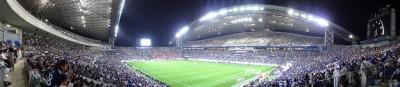SONYデジカメDSC-HX9Vでのスポーツ撮影(サッカー観戦):パノラマ撮影した写真です。クリックして拡大してご覧ください。