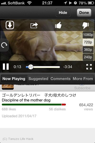 Youtube動画のダウンロードアプリ「ProTuber」の巻