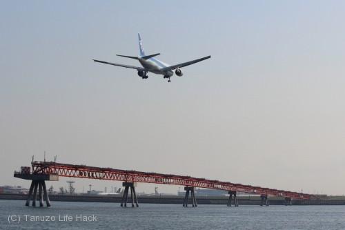 羽田空港城南島海浜公園撮影_B滑走路への着陸