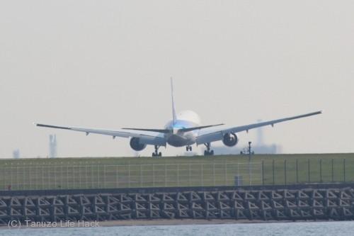 羽田空港城南島海浜公園撮影_B滑走路着陸
