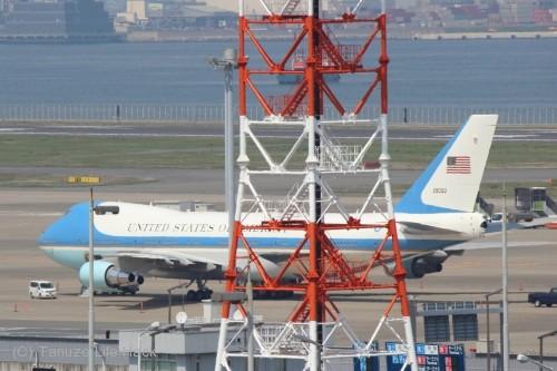 エアフォースワンを第1ターミナルデッキから撮影
