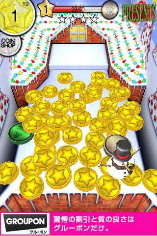 coin dozer:メインの画面です。上の投入台をタップすることでコインが投げられます。