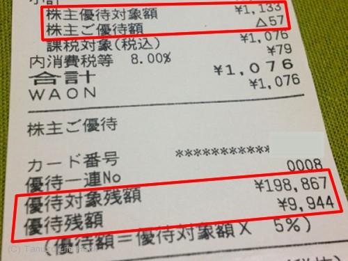 ダイエー株主優待カード レシート