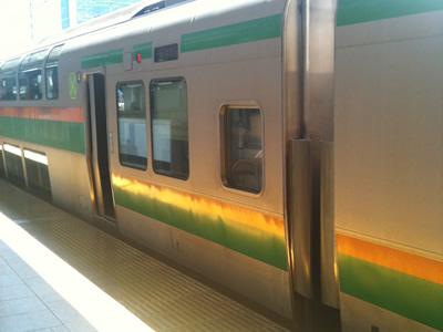 湘南新宿ライン・東海道新幹線のグリーン車で最も楽な席:このガラスが2つの部分です。