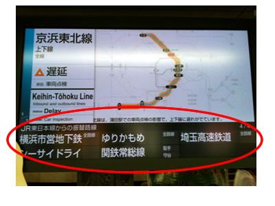 山手線・中央線・京浜東北線等のJR振替情報の調べ方:駅改札に設置してある運行情報モニター