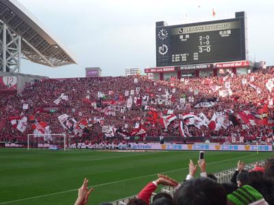 埼玉スタジアムでレッズ戦を観に行った:やっぱりレッズサポーターの前に行ったときの歓声が一番高かったです。