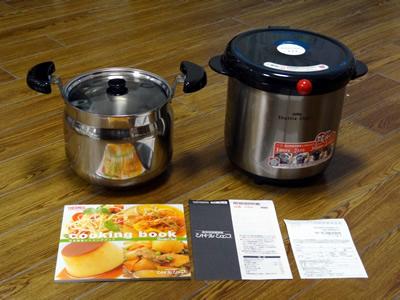 シャトルシェフ(KBA-4501)をamazonで買った:内鍋・外鍋・レシピ集・取扱説明書・アンケートハガキが同梱されています。